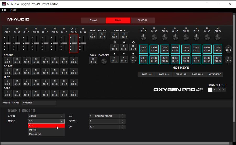 M-Audio Oxygen Pro 49 - PRESET EDITOR